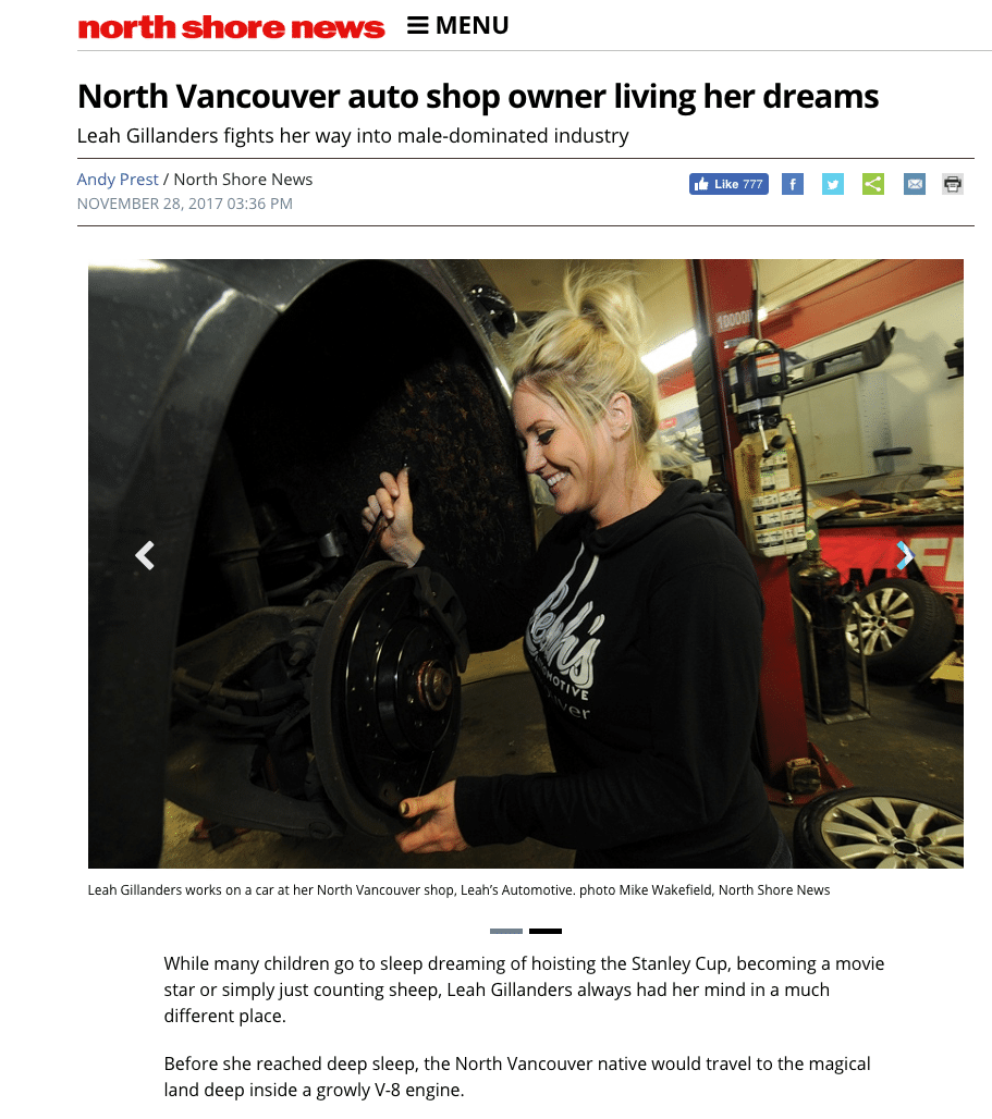 Leah's Auto Featured in North Shore News